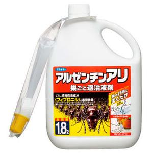 あるぜんちんありすごとたいじえきざい|あり・むかで・げじくじょ|えきたいさっちゅうざい||巣の中の蟻まで連鎖的に作用します。互いに体が舐めあうという特性を利用し薬剤に触れた蟻、その蟻に触れた別の蟻にまで効果が伝る!アルゼンチンアリ、クロアリ、アカアリ、ムカデ、シロアリ等の駆除に確実な効果!ヒアリ、アカカミアリ対策にも使用されました!アルゼンチンアリウルトラ巣ごと退治液剤の通信販売:テクネットストア製品名:アルゼンチンアリウルトラ巣ごと退治有効成分:フィプロニル容量:18L 剤形:液剤 販売元:フマキラー株式会社●連鎖効果の有効成分「フィプロニル」配合巣の中のアリまで連鎖的に作用します。互いに体が舐めあうというアリの特性を利用。薬剤に触れたアリ、そのアリに触れた別のアリにまで効果が伝わります。パニック効果の木酢液配合巣の奥のアリを追い出し、効果的にアリを駆除します。 植物にやさしい!植物にかかっても水性処方なので、安心です。すき間用ノズル&シャワーノズル採用アルゼンチンアリは在来のアリと違い、壁のすき間やコンクリートの割れ目などを好んで巣を作るため、すき間用ノズルを採用。シャワーノズルは、群がるアリ退治に便利です。神戸で発見されたヒアリ・アカカミアリ対策にも提教れました。有効成分のフィプロニルは優れた伝播性で巣ごと退治!巣の中の蟻まで連鎖的に作用します。互いに体が舐めあうという特性を利用し薬剤に触れた蟻、その蟻に触れた別の蟻にまで効果が伝わります。 巣の奥の蟻を追い出し、効果的に蟻を駆除します。植物にかかっても水性処方なので、安心です。アルゼンチンアリは在来の蟻と違い、壁のすき間やコンクリートの割れ目などを好んで巣を作るため、すき間用ノズルを採用。シャワーノズルは、群がる蟻退治に便利です。巣の中の蟻まで連鎖的に作用します。互いに体が舐めあうという特性を利用し薬剤に触れた蟻、その蟻に触れた別の蟻にまで効果が伝る!アルゼンチンアリ、クロアリ、アカアリ、ムカデ、シロアリ等の駆除に確実な効果!ヒアリ、アカカミアリ対策にも使用されました!アルゼンチンアリウルトラ巣ごと退治液剤の通信販売:テクネットストア