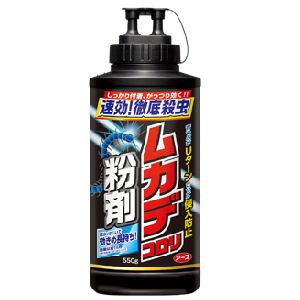むかでころりふんざい|あり・むかで・げじくじょ|りゅうざい・ふんまつさっちゅうざい||7つの効果でムカデを殺虫&侵入防止7種類の有効成分配合でムカデを速効駆除&効果持続ムカデコロリ粉剤の通信販売:テクネットストア製品名:ムカデコロリ粉剤有効成分:シフルトリン(ピレスロイド系)、プロポクスル(カーバメート系)、樟脳、ローズマリー精油 容量:550g 適用害虫:ムカデ、ヤスデ、ゲジゲジ(ダンゴムシ、ワラジムシ、クロアリ、シロアリ、アカアリ、アルゼンチンアリ、ケムシ、カメムシ、シバンムシ、アリガタバチ、クモにも効果があります。)販売元:アース製薬株式会社 7つの効果!ムカデを殺虫&侵入防止!◆2ライン効果薬剤を2本線で帯状に散布できるから、高い殺虫&侵入防止効果を発揮!速効駆除効果&持続効果4種類の有効成分配合でムカデを速効駆除&効果持続!効力増強効果効力増強剤配合でムカデに対する殺虫効果UP!Uターン効果天然由来成分の樟脳とローズマリー精油を配合した青つぶでムカデを侵入させない!追い出し効果隠れたムカデもしっかり追い出す!撥水効果シリコーンオイルコーティングで雨水をはじく!だから長持ち!容器上端の小さいキャップを取り、口を下に向けて容器の胴部を軽く卸ながらムカデなどの不快害虫に直接散布してください。植木鉢、プランター、枯葉、朽木などの下、家の周囲、床下、通風口、石垣の隙間などの不快害虫の生息、発生しやすい場所に散布してください。不快害虫の生息、発生しやすい場所には1m2あたり20〜40gを散布してください。家屋内への侵入防止には、家屋の外壁に沿って帯状に1mあたり15〜30gの薬量を散布してください。軽く1卸で約15g散布できます。屋内に侵入するムカデに対しては、帯状に盛り上がるように散布してください。7つの効果でムカデを殺虫&侵入防止7種類の有効成分配合でムカデを速効駆除&効果持続ムカデコロリ粉剤の通信販売:テクネットストア